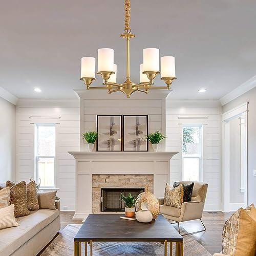 NOXARTE Candle Brass Chandelier Lighting Fixture Gold Hanging Ceiling Light