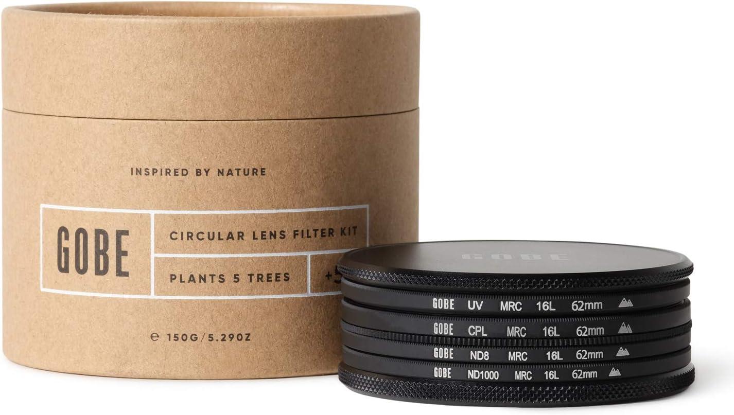 Gobe - Kit de Filtros para Objetivo 62 mm UV, Polarizado Circular (CPL), ND8, ND1000 (2Peak): Amazon.es: Electrónica