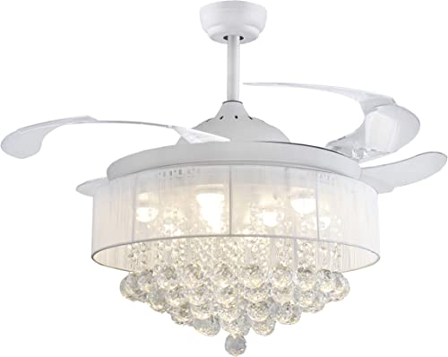 42″ Crystal Round Drum Fabric shape Ceiling Fans 32W LED 4 Acrylic Invisible Retractable Blade