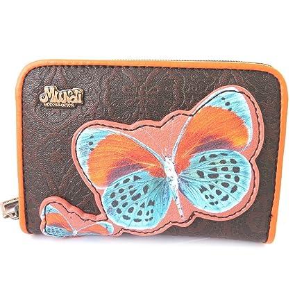 Zip cartera Mundinaranja marrón (mariposa).: Amazon.es ...