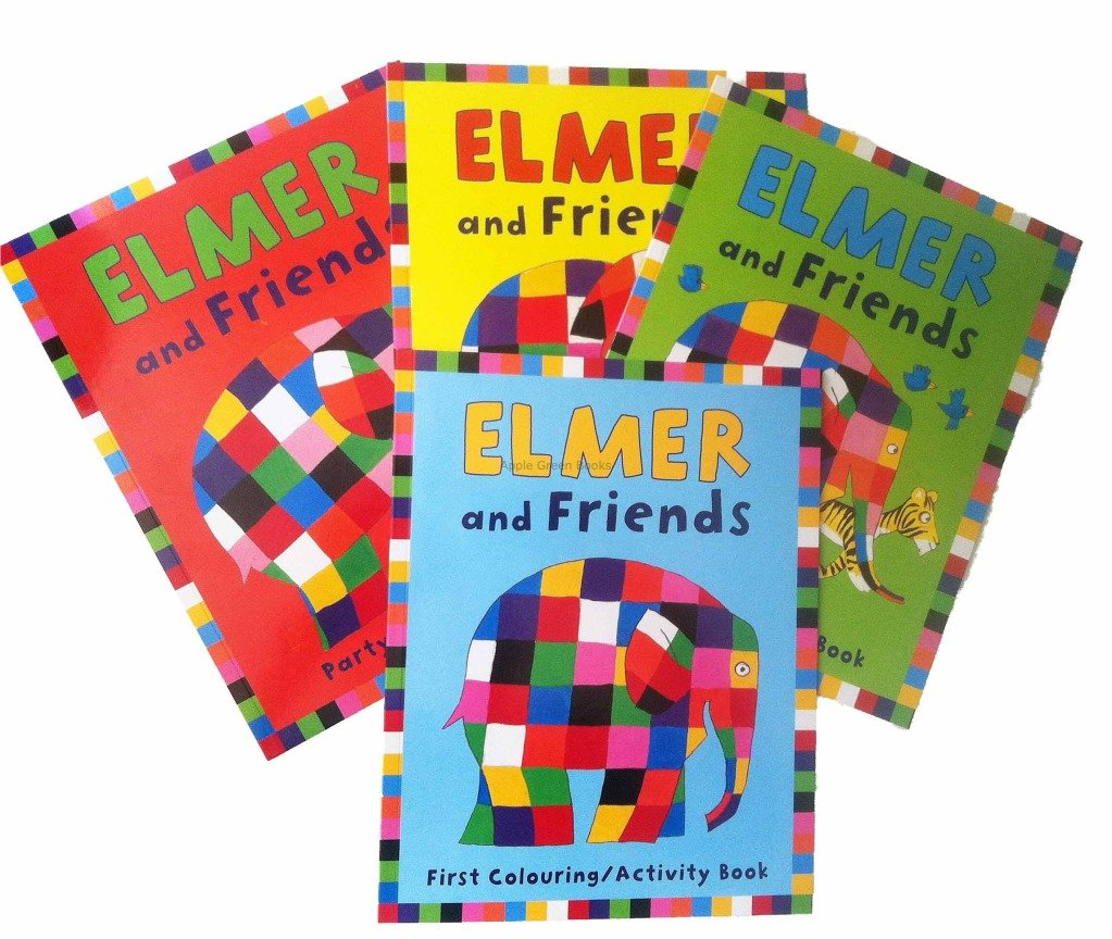Elmer And Friends Activity Books 4 Party Colouring Book Sticker Story Birthday First 1196