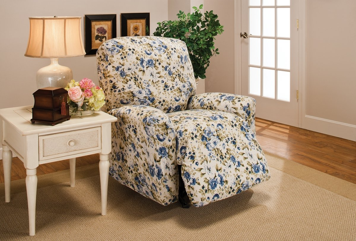 Madison Stretch Jersey Recliner Slipcover, Large, Floral, Blue MADISON INDUSTRIES INC. us home MBPT0