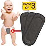 Bembika 5 Layer Bamboo Charcoal Inserts Liners Natures Cloth Diaper Liner, Wetfree Reusable Washable Cotton Diaper Nappy Inserts for Baby Cloth Diapers (Set of 3)