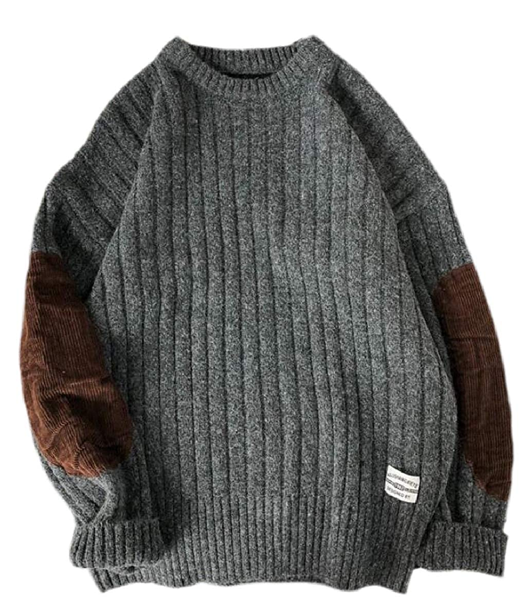 FLCH+YIGE Mens Pullover Elbow Patchs Loose Fit O-Neck Winter Corduroy Sweaters