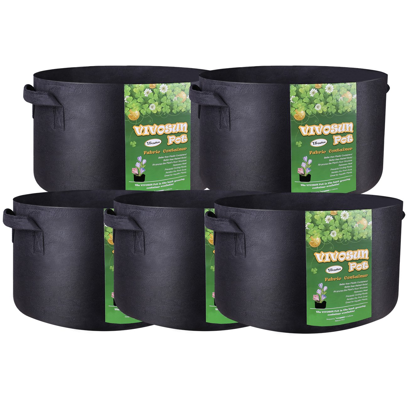 VIVOSUN 5-Pack 15 Gallon Plant Grow Bags, Premium Series Thichkened Non-Woven Aeration Fabric Pots w/Handles - Reinforced Weight Capacity & Extremely Durable (Black)