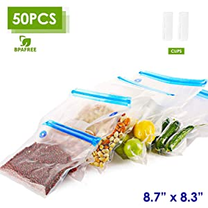 "VICARKO Sandwich Vacuum Zipper Bags, Vacuum Sealer Bags, Sous Vide Bags, for Food Storage, Freezer Storage, Sous Vide Cooking, Reusable, Double-layer, BAP Free | 8.7"" * 8.3"", 50-Pack, Small"