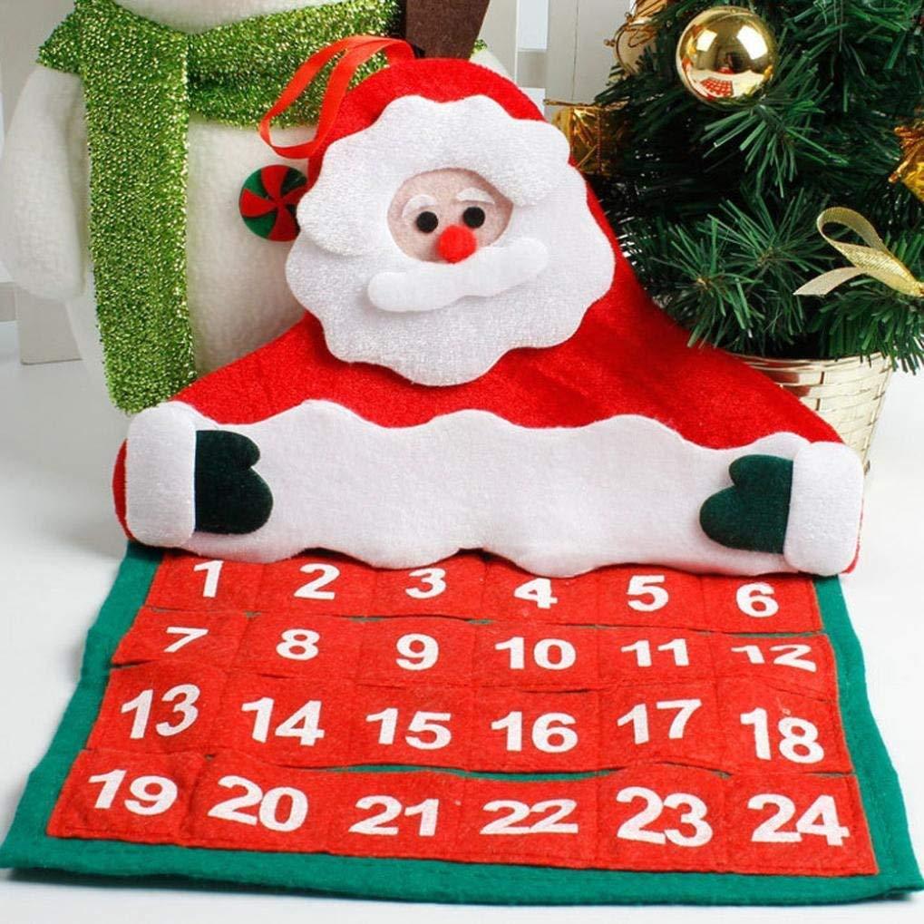 Fligatto feltro albero di Natale calendario dell avvento conto alla rovescia  per Natale calendario regali di Natale per bambini da appendere alla parete  decorazione Calendari dell'avvento Casa e cucina