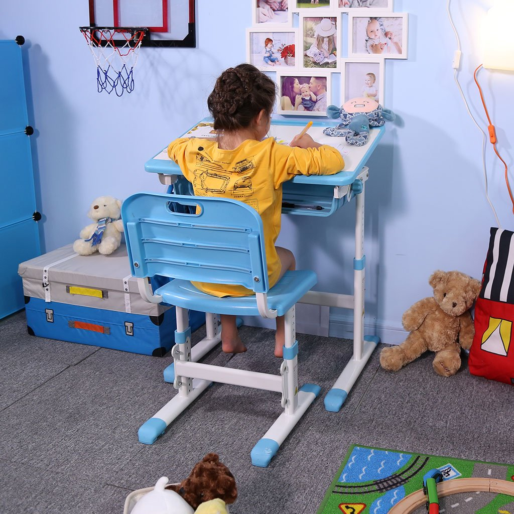 Slypnos Ergonomic Adjustable Children's Desk and Comfortable Chair Set Specially Designed for Children Age 3-14, Blue by Slypnos (Image #3)