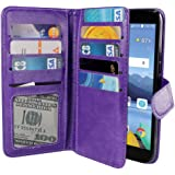LG K8V VS500 Case, NEXTKIN Premium PU Leather Dual Wallet Folio TPU Cover, 2 Large inner Pockets Double flap Privacy, 9 Card Slots Holder Snap Button & Wrist Strap - Purple