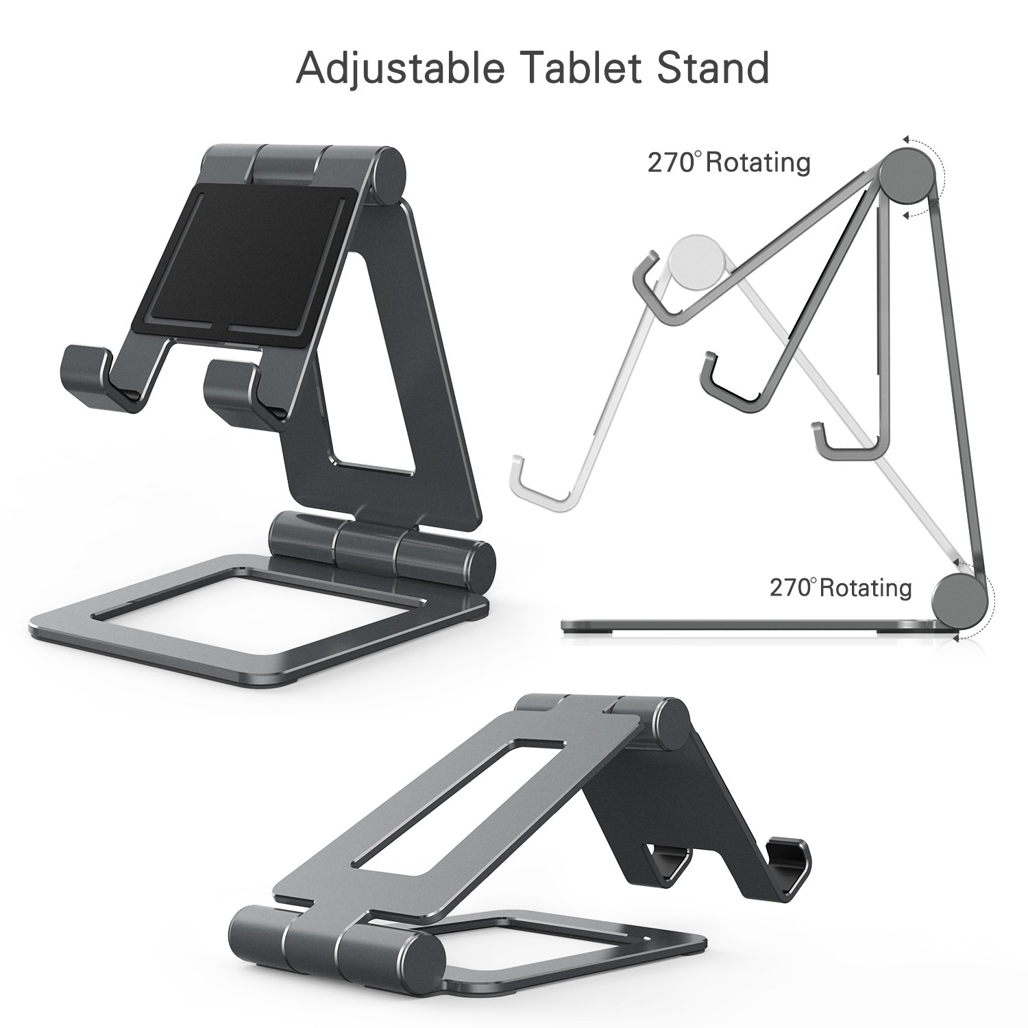 Adjustable iPad Stand, Tablet Stand Holders, Cell Phone Stands, iPhone Stand, Nintendo Switch Stand, iPad Pro Stand, iPad Mini Stands and Holders for Desk (4-13 inch) by Hi-Tech Wireless (Image #4)