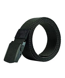 Leisial™ Hombre Cinturón de Lona Ocasional Cinturones Tactico Policia Automática Hebilla de Plástico Deporte al Aire para Unisex