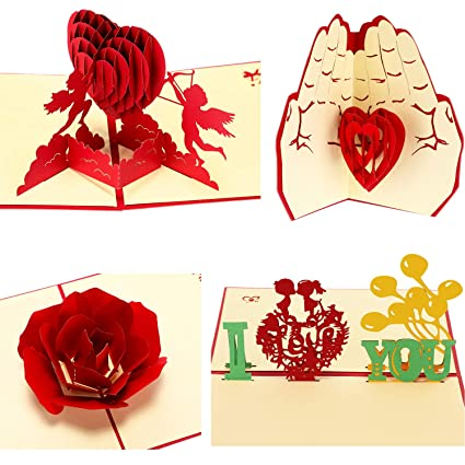 Amazon Jovitec 3D Valentine Pop Up Greeting Cards Romance Card