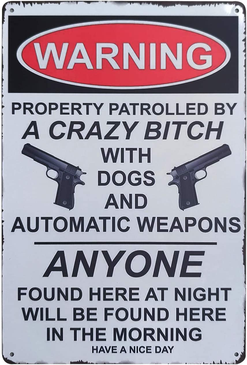 ZOVSON Warning Property is Protected by Dog Retro Vintage Metal Tin Sign Private Property Sign Funny Gun Signs Home Decoration 8X12Inch