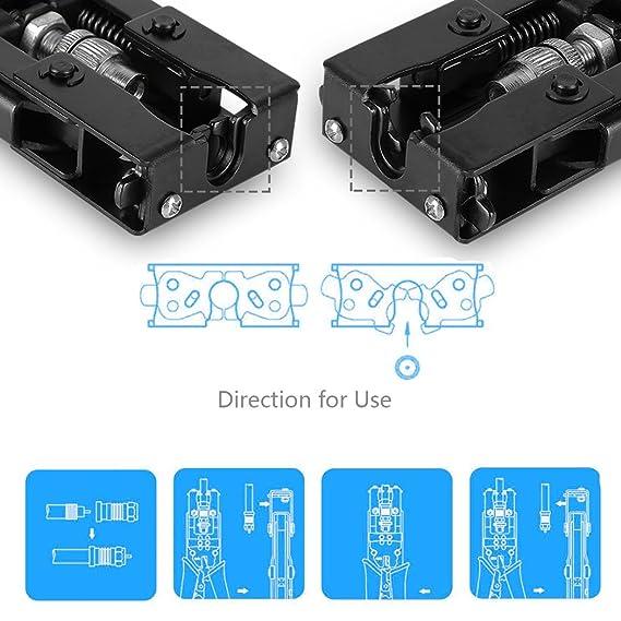 Preciva Alicate de compresión terminales, Alicate Engaste Crimpadora de cable coaxial de herramienta de prensa, Para F, BNC, RCA conector/Azul: Amazon.es: ...