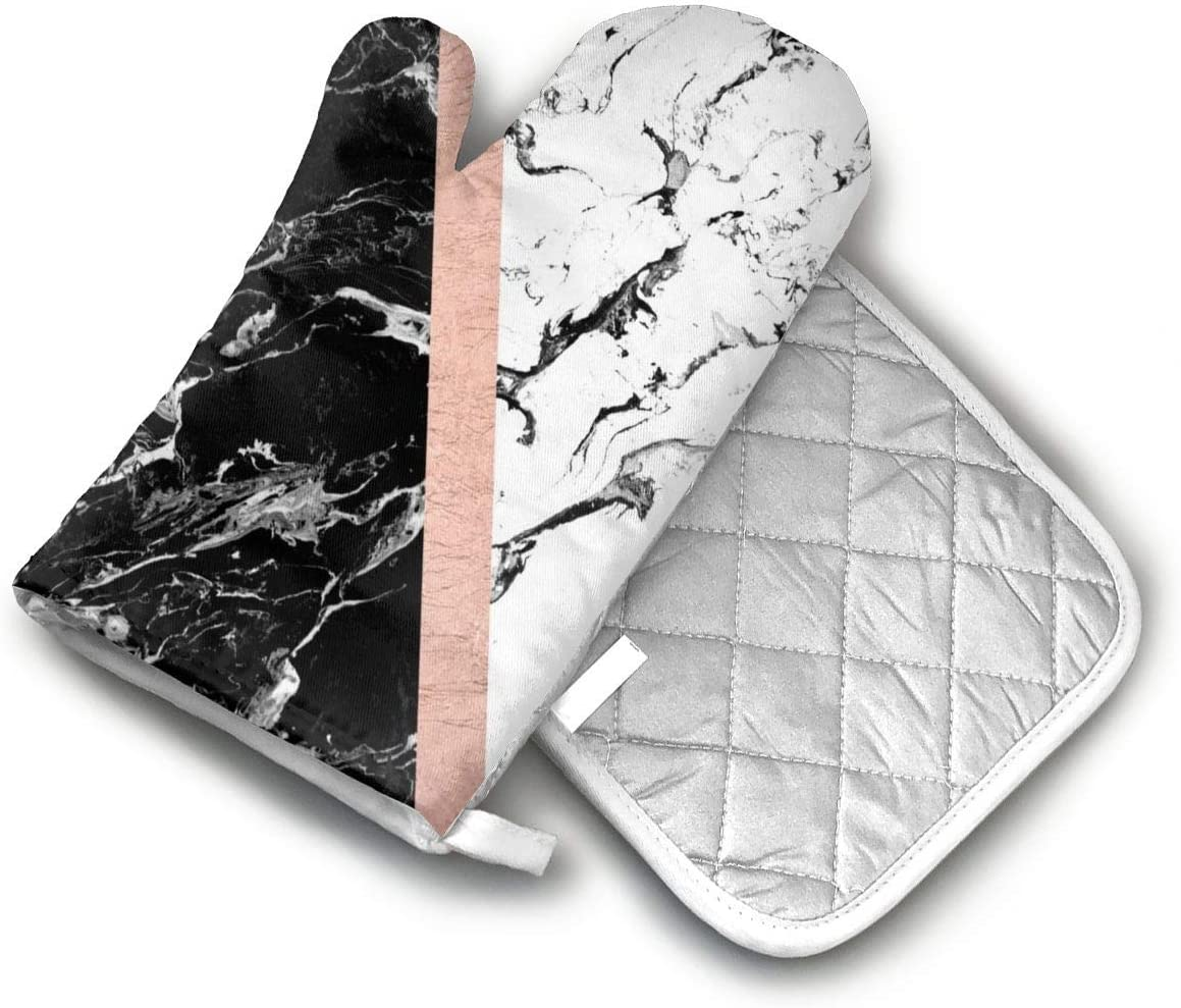 TMVFPYR Chic Black White Marble Color Block Rose Gold Oven Mitts, Non-Slip Silicone Oven Mitts, Extra Long Kitchen Mitts, Heat Resistant to 500Fahrenheit Degrees Kitchen Oven Gloves
