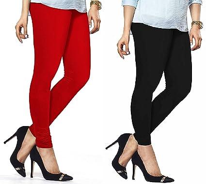 1c4dd8b985f165 Lux Lyra Women's Pack Of 2 Churidar Leggings-Red & Black: Amazon.in:  Clothing & Accessories