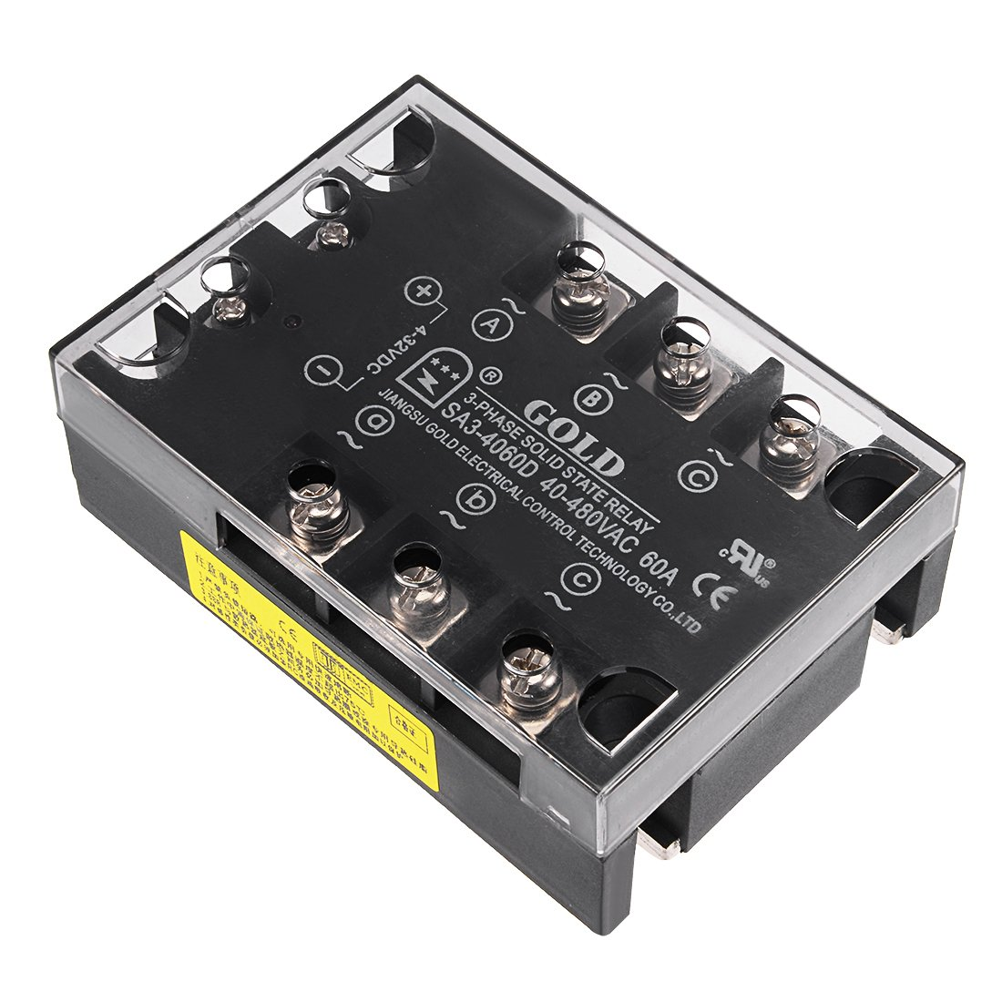 uxcell SA34060D 4-32VDC to 40-480VAC 60A Three Phase Solid State Relay Module DC to AC by uxcell