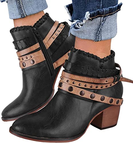 Faux Suede Rivet Buckle Straps Chunky Heels Ankle Booties Back Zipper Boot Shoes Womens Winter Boots