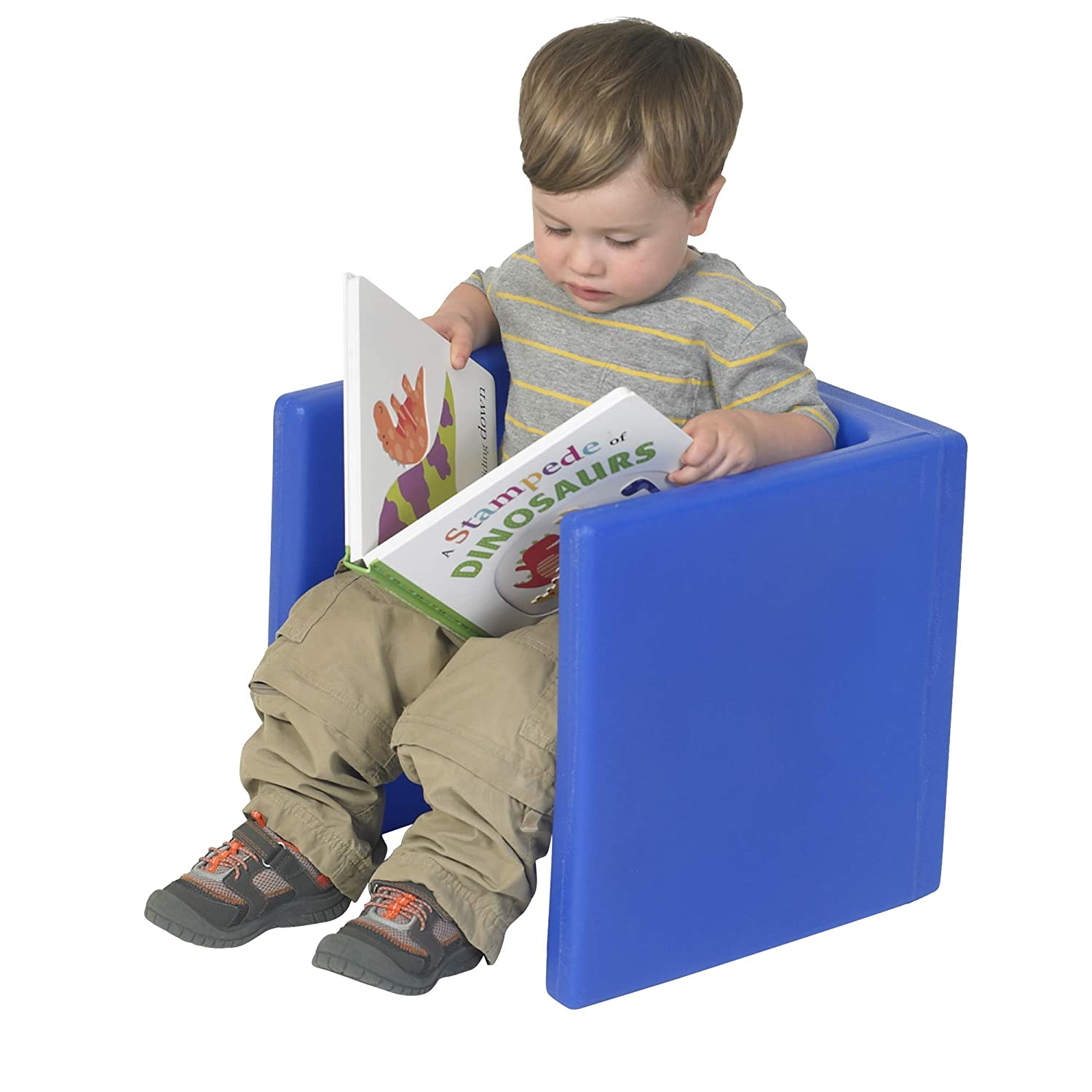 Children's Factory Cube Chair for Kids, Flexible Seating Classroom Furniture for Daycare/Playroom/Homeschool, Indoor/Outdoor Toddler Chair, Blue