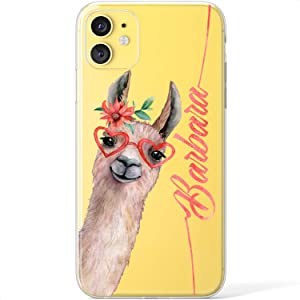 Mertak Clear Case Compatible with iPhone 12 Pro Max Mini 11 SE 10 Xr Xs 8 Plus 7 6s 5s Llama Custom Name Cover Personalized Cute Alpaca Girl TPU Funny Monogram Lightweight Slim Silicone Protective