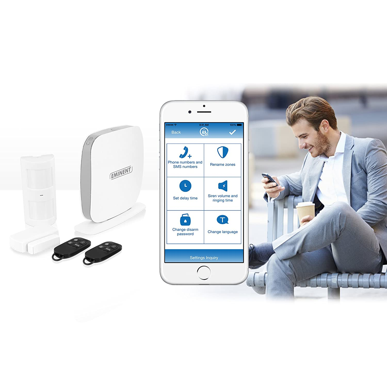 802.11b,802.11g,Wi-Fi 4 802.11n Eminent EM8615 Sistema de Alarma de Seguridad WiFi Blanco Sistemas de Alarma de Seguridad , Android,iOS, L/ínea telef/ónica, Wi-Fi, 90 dB, 433 MHz, -10-55 /°C