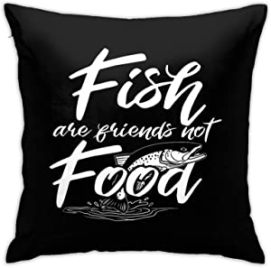 Fish are Friends Not Food Square Throw Pillow Case with Zipper, Throw Pillow Case Cushion Cover Home/Office Sofa Decor 18x18 Inch