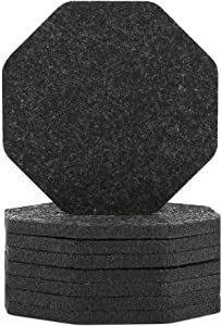 Coasters For Drinks Set of 9, Fashion Octagon Absorbent Gray Felt Coaster Protects Furniture,Perfect Housewarming Gift Idea (GREY)