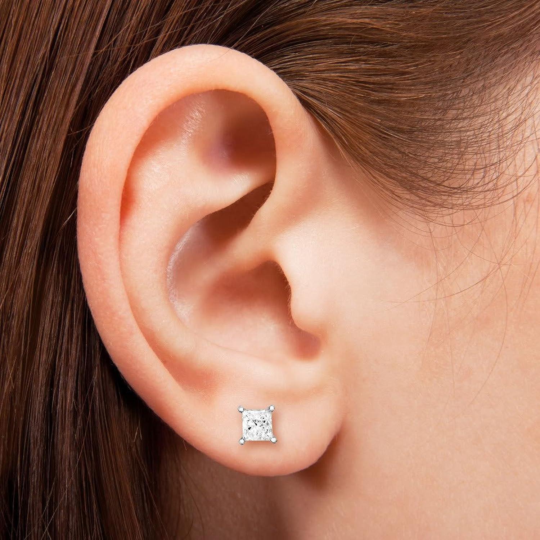 Amazon 14k White Gold Princess cut Solitaire Diamond Stud