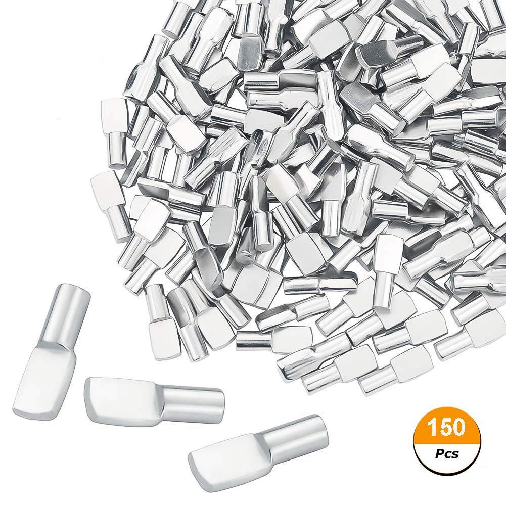 150 Packs Shelf Pins 5mm Spoon Shape Cabinet Furniture Shelf Support Pegs Nickel Plated