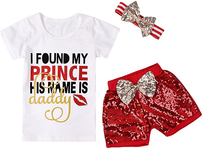waitFOR Vestiti Bambina 1 Anni a 6 Anni Magliette e Pantaloncini Bambina Completi Bambina Elegante Costume Estate