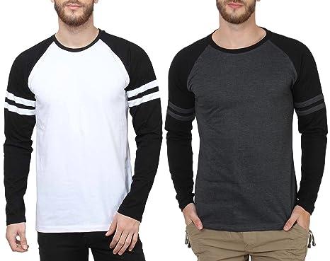 d5152dadba8b SAYITLOUD Men's Solid T-Shirts (Pack of 2)(C33SOLIDWHITEBLACKBLACKMELANGEBLACK-XXL_White  Black