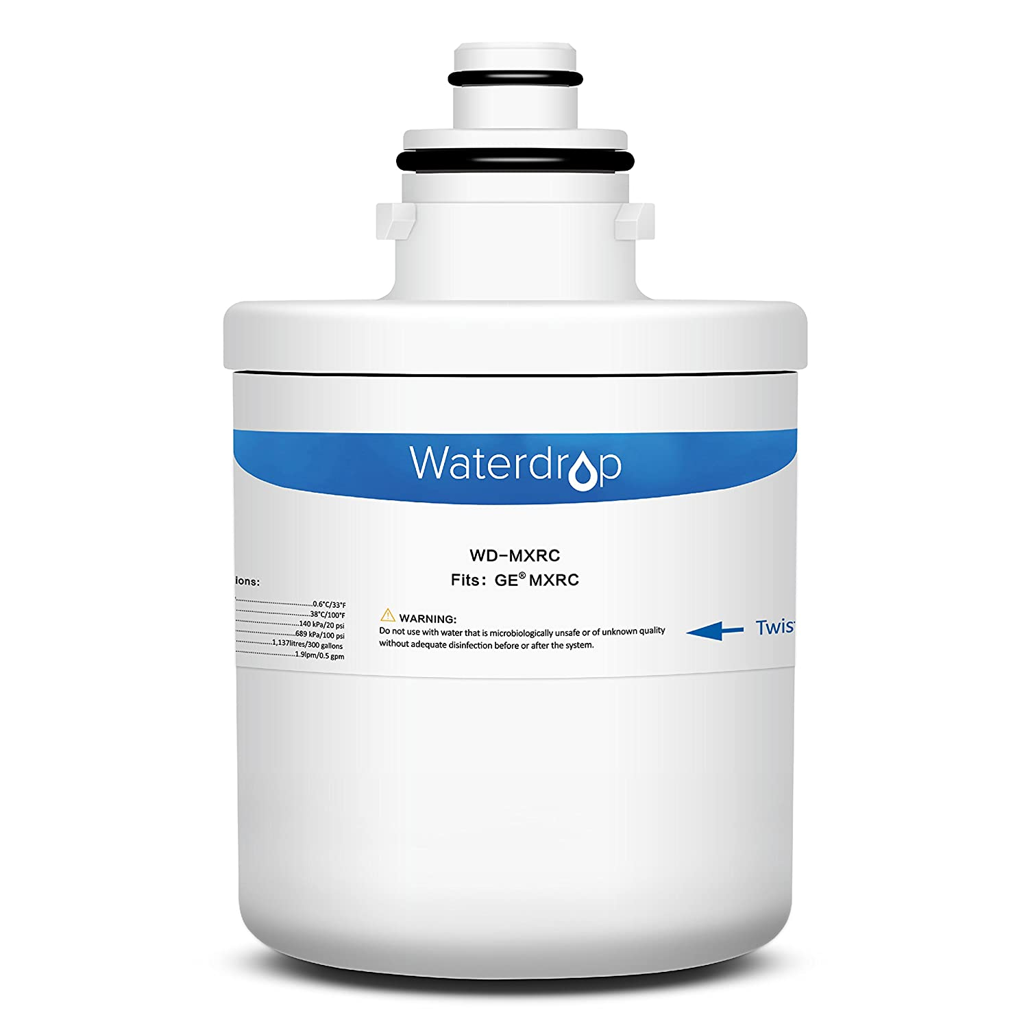 Waterdrop Refrigerator Water Filter, Compatible with GE MXRC, FXRC, FXRT, HXRC, 9905, 46-9905 & 1E1013