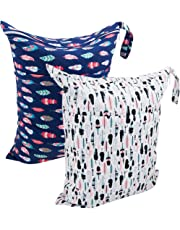 ALVABABY Cloth Diaper Wet/Dry Bags|Waterproof Reusable with Two Zippered Pockets|Travel,Beach,Pool,Daycare,Soiled Baby Items,Yoga,Gym Bag for Swimsuits or Wet Clothes 2 Pack L0130-CA