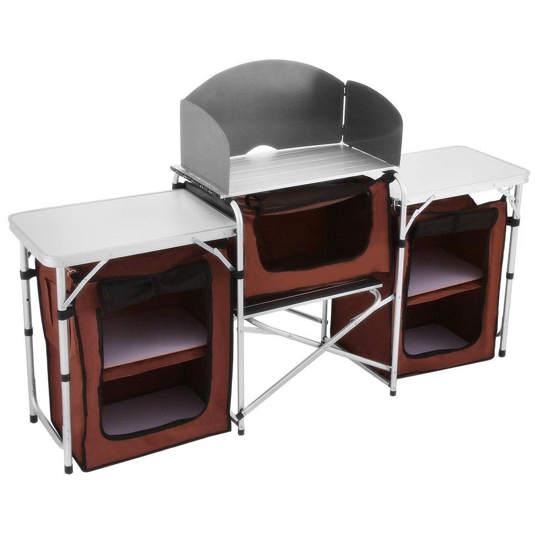 BuoQua Faltbare Küchenschrank Campingküche mit Windschutzscheibe und Alu-Arbeitsfläche Vielseitig Kocherschrank für Camping
