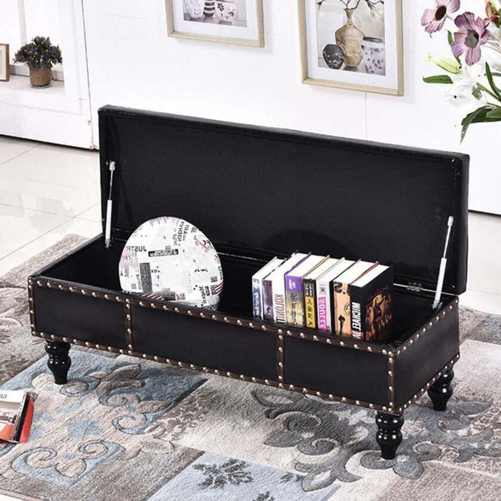 gzz Nordic Storage Ottoman Bench, Retro Kunstleder Aufbewahrungskiste Fußstütze gepolsterter Sitz,Schwarz,110cm