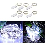 6 Packs 2M 20 LEDs Micro Fairy String Lights CR2032 Battery Powered (Included) Outdoor Copper Wire Light for DIY Wedding Party Christmas Table Decorations (Pure White)