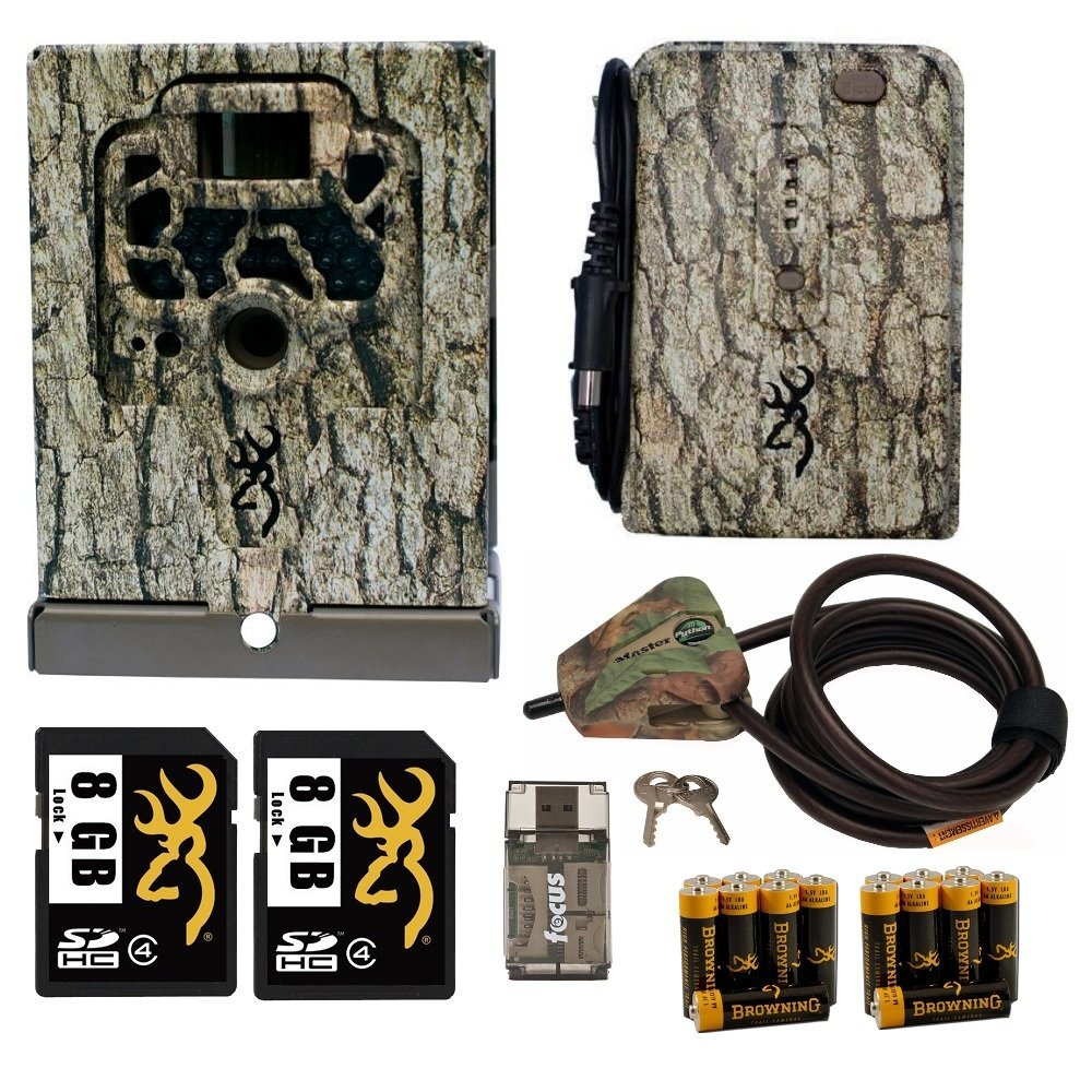 Browning Trail Camera Accessories Kit Security Box w. Cable Lock, Battery Pack, w. AA Batteries, and 2 Cards