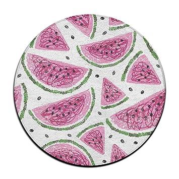 Yo Ou Round Area Rug Fruit Watermelon Soft Anti Skid Runner Floor Rug  Indoor Outdoor
