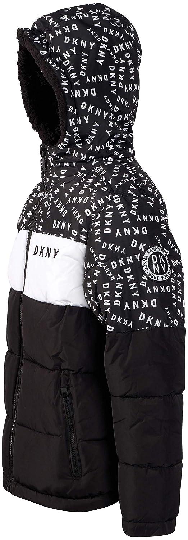 DKNY Boys Heavyweight Polar Fleeced Lined Puffer Bubble Jacket with Hood