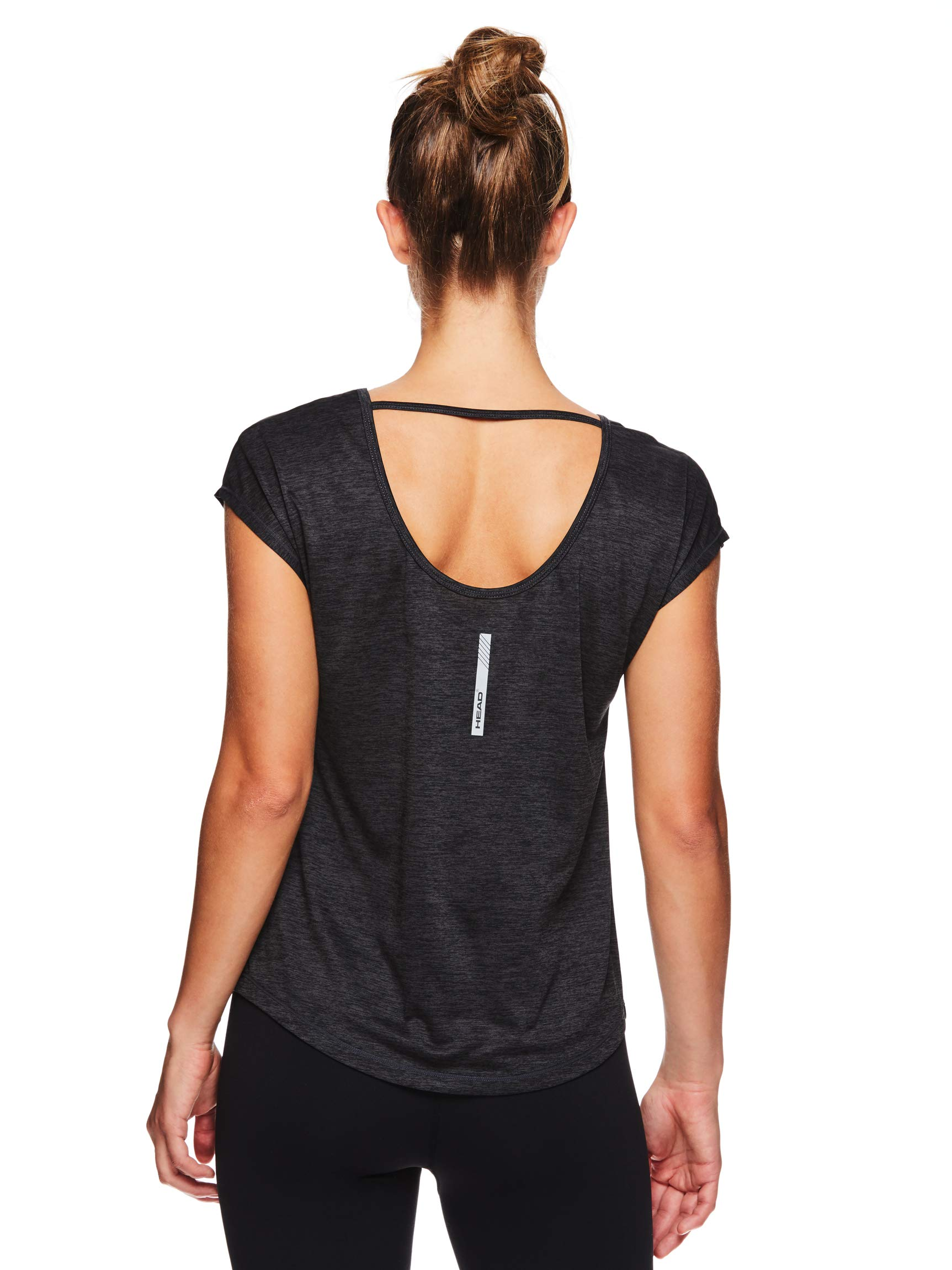 HEAD Women's Open Back Short Sleeve Workout T Shirt - Performance Scoop Neck Activewear Top - Black Heather, Large