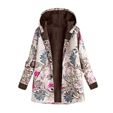 COPPEN Women Winter Outwear Floral Print Hooded Pockets Vintage Oversize Coats