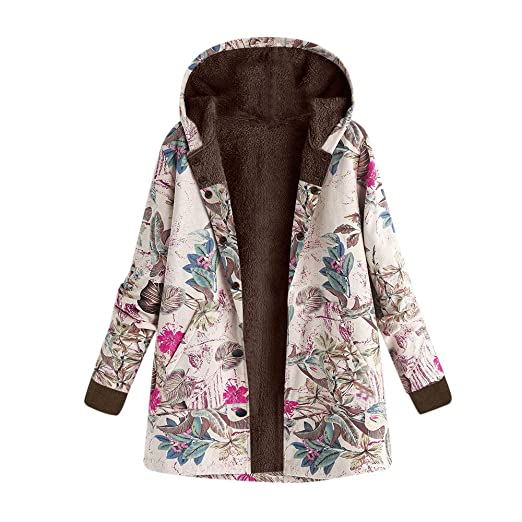 Womens Winter Coats BCDshop Ladies Warm Outwear Floral Leaves Print Hooded Pockets Retro Overcoat (Hot