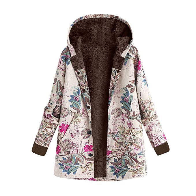 Amazon.com: Womens Winter Coats BCDshop Ladies Warm Outwear Floral Leaves Print Hooded Pockets Retro Overcoat: Clothing