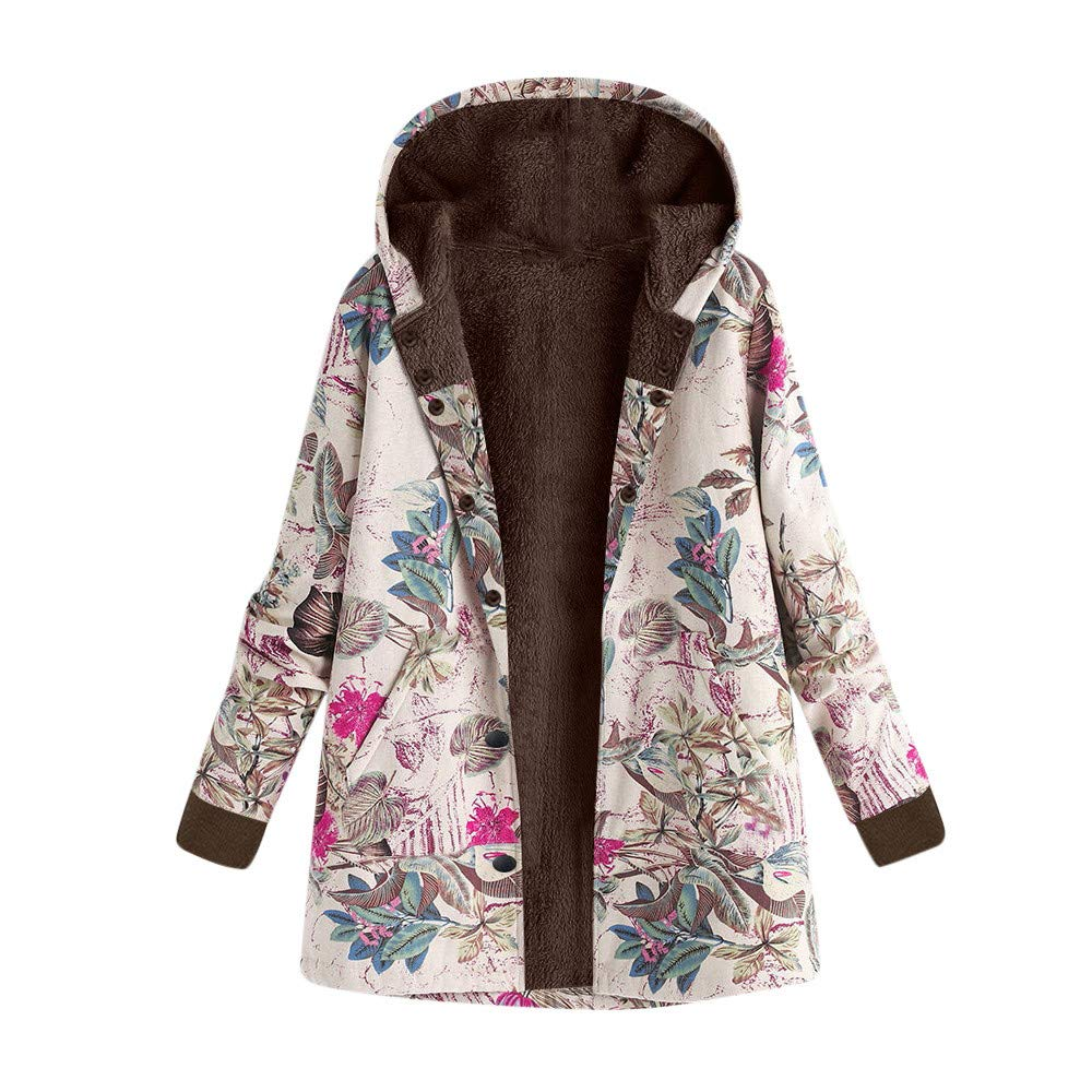 iLXHD Womens Winter Warm Outwear Floral Hooded Pockets Vintage Oversize Coats Hot Pink
