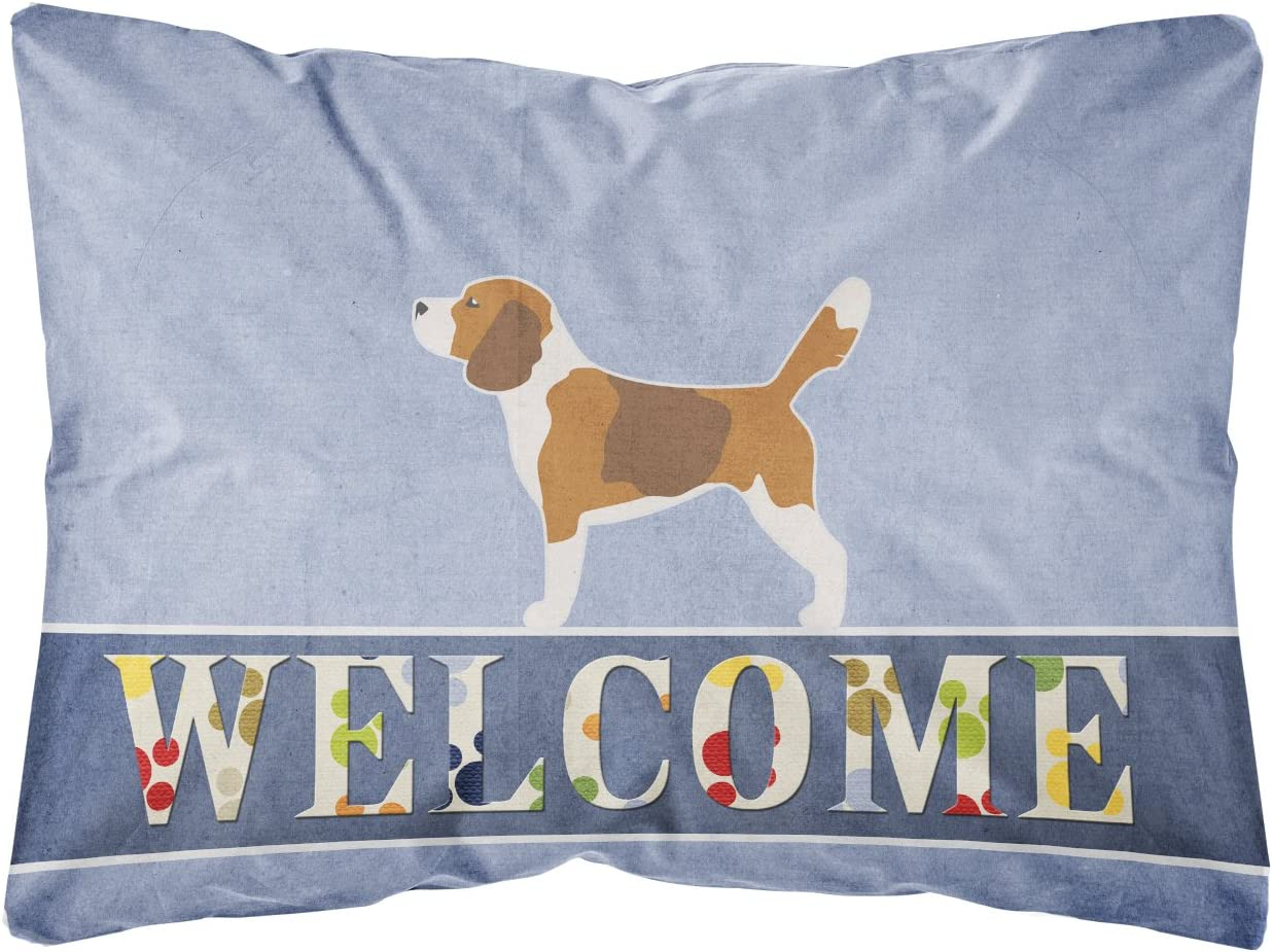 Multicolor 12H x16W Carolines Treasures BB5514PW1216 Beagle Welcome Canvas Fabric Decorative Pillow