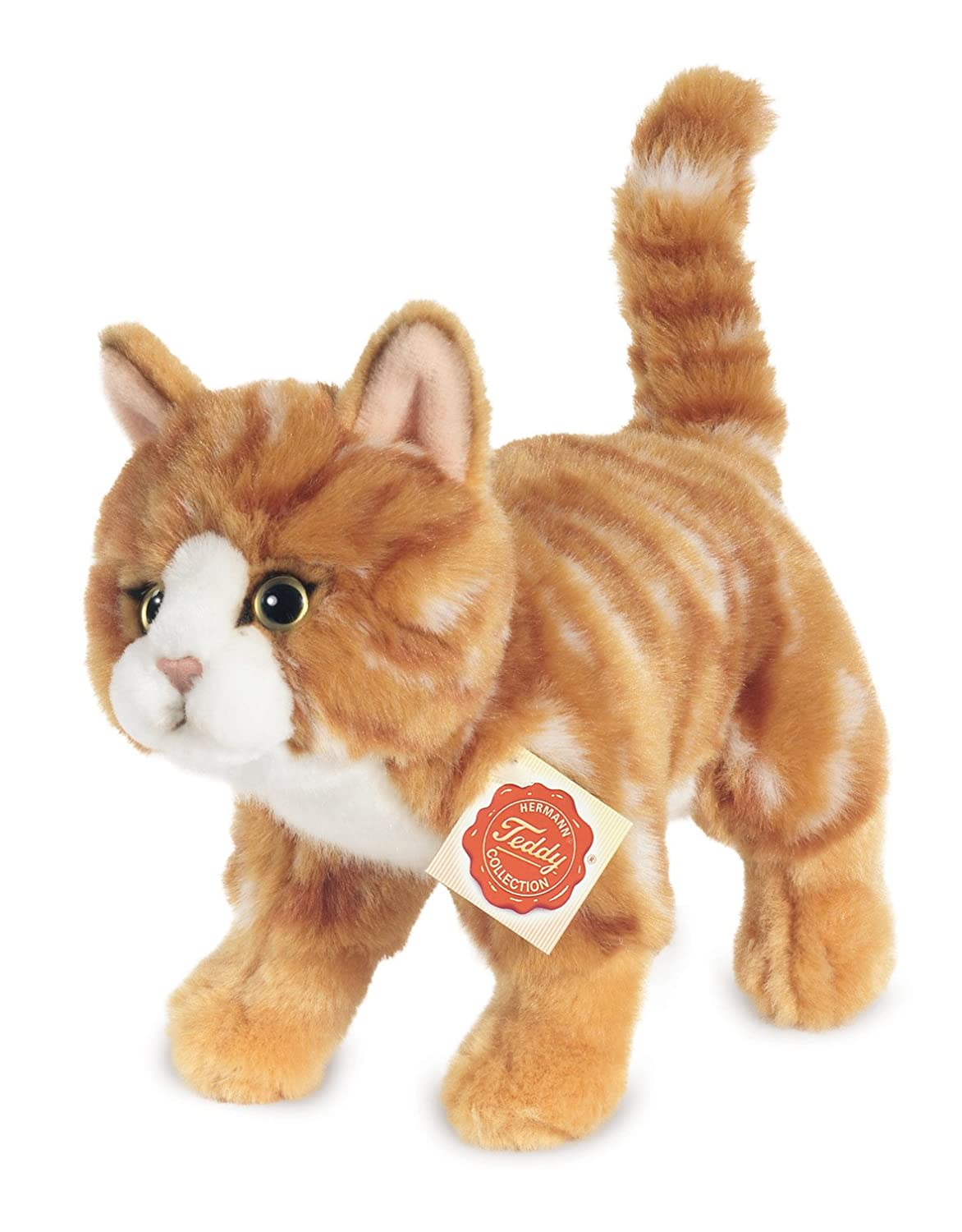Hermann Teddy Collection - 906827 - Peluche - Chat Debout - 20 cm Maquereau - Rouge