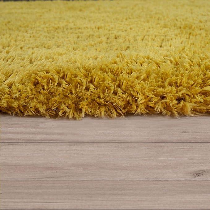 Waschbarer Hochflor Teppich Shaggy Flokati Look In Uni Schwarz