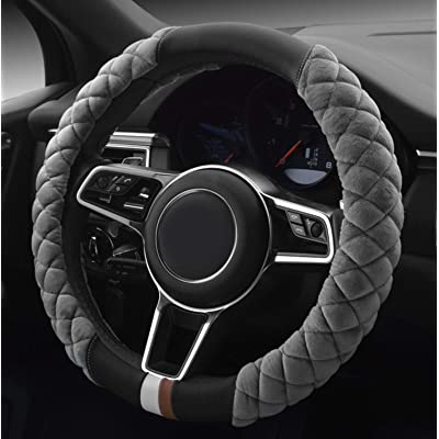 HAOKAY Luxurious Soft Plush Steering Wheel Cover with Universal Size 15 Inches (Grey): Automotive