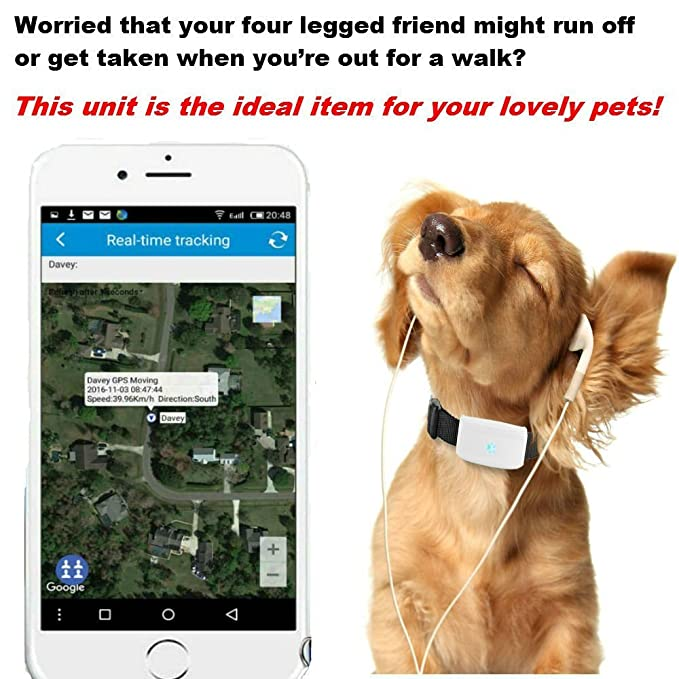 Mini GPS Localizador de Collar para Mascotas, impermeable ...