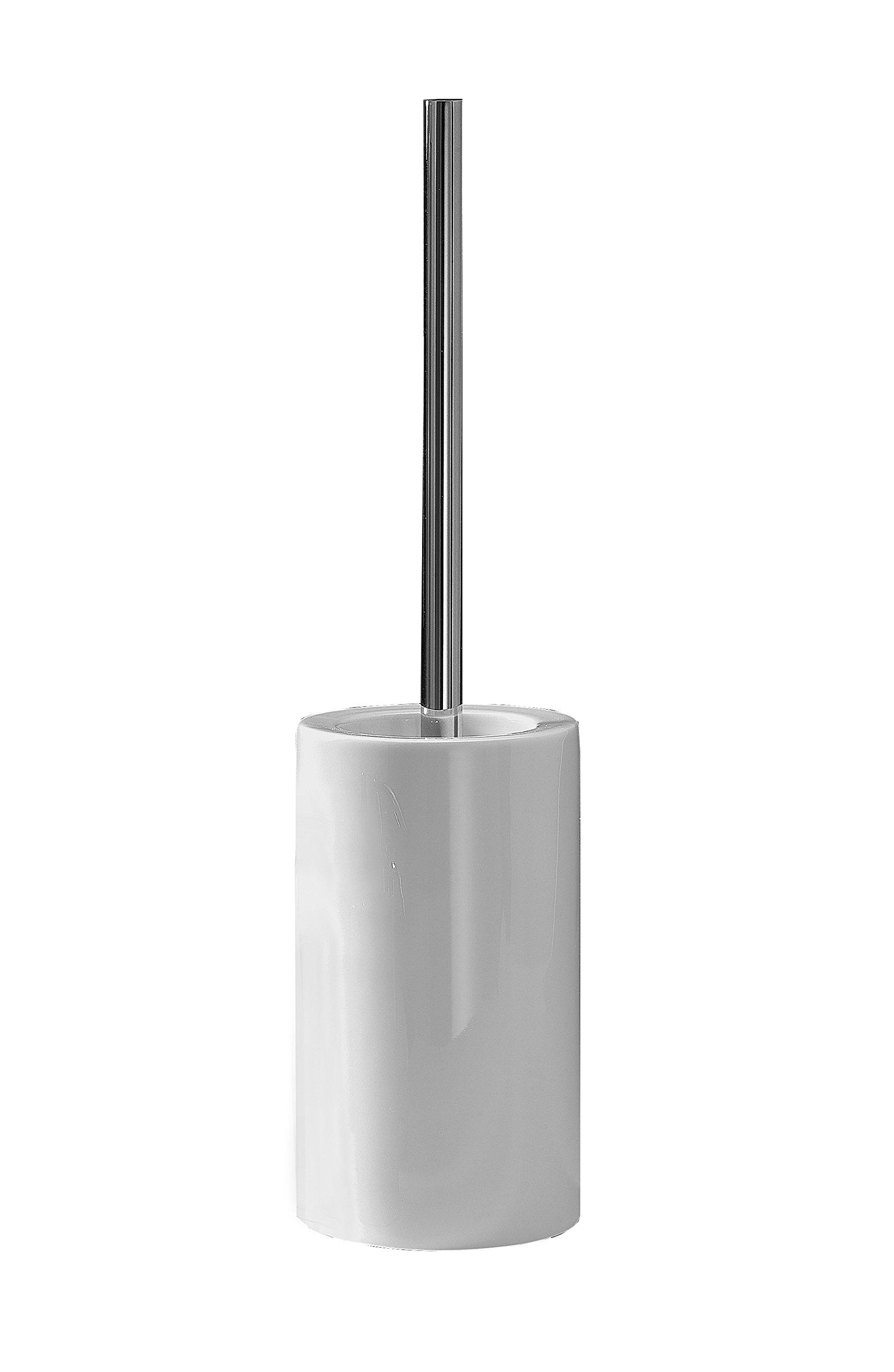 DWBA Free Standing Toilet Bowl Brush and Holder Set. Porcelain Bowl for Toilet Brush and Holder Cleaner (Round Bowl, Polished Chrome)